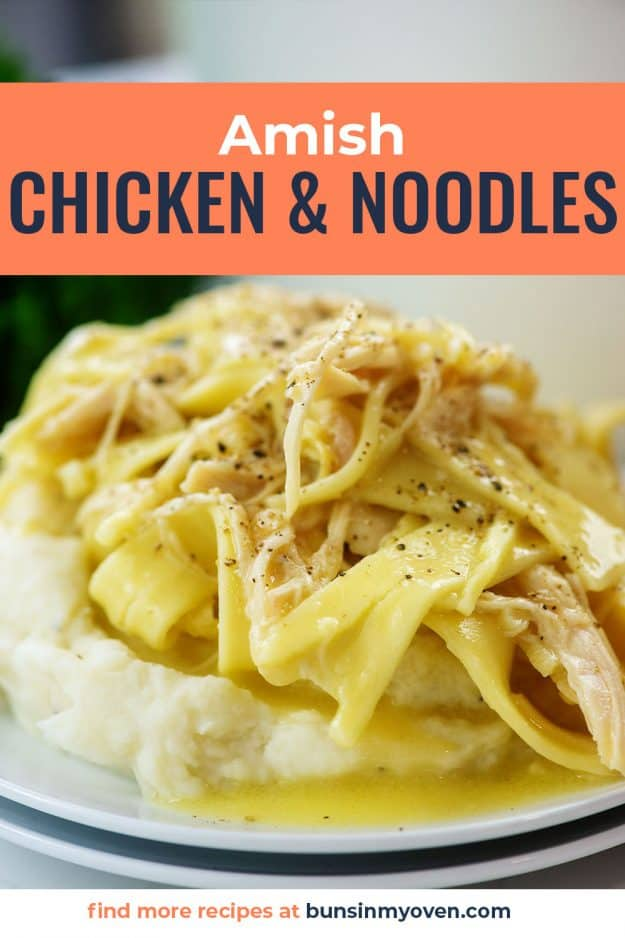 chicken & noodles over mashed potatoes.