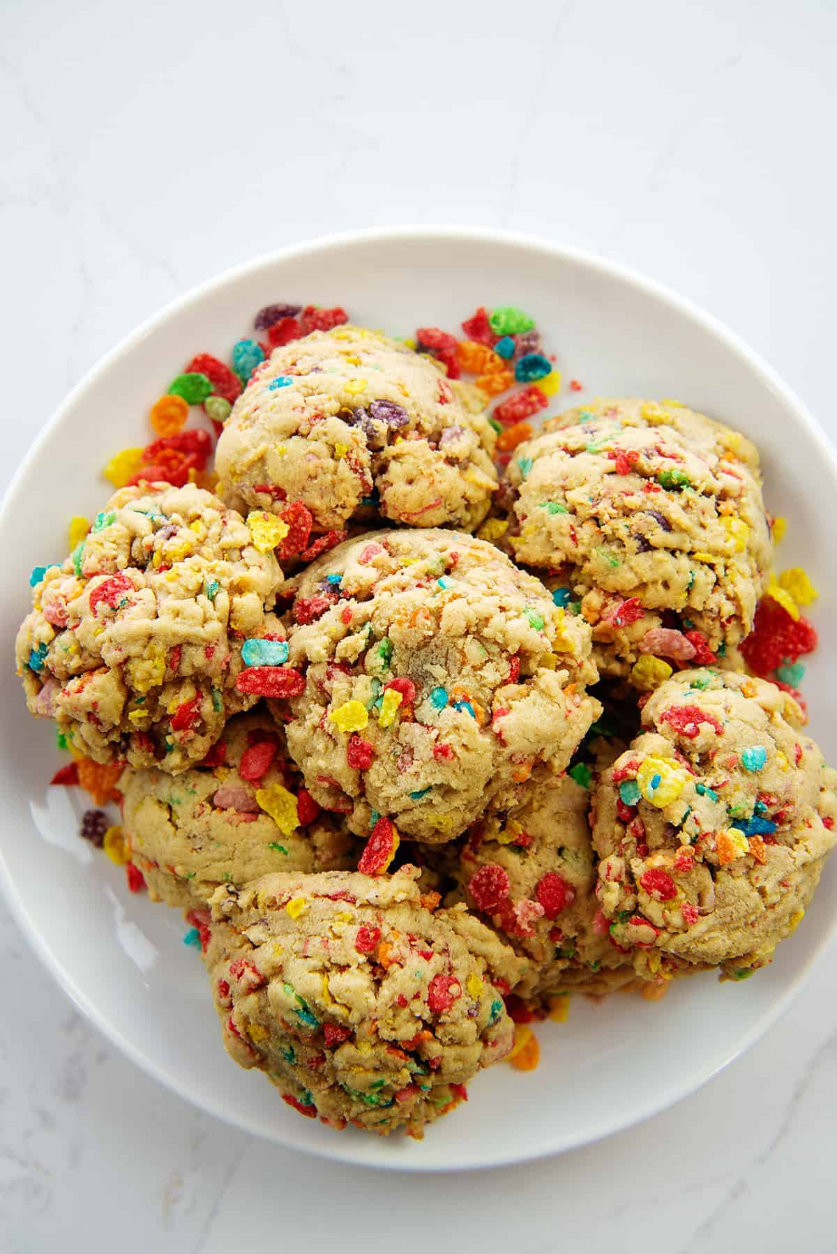 cereal cookies on white plate.