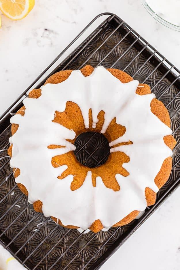 bundt cake topped with lemon glaze.