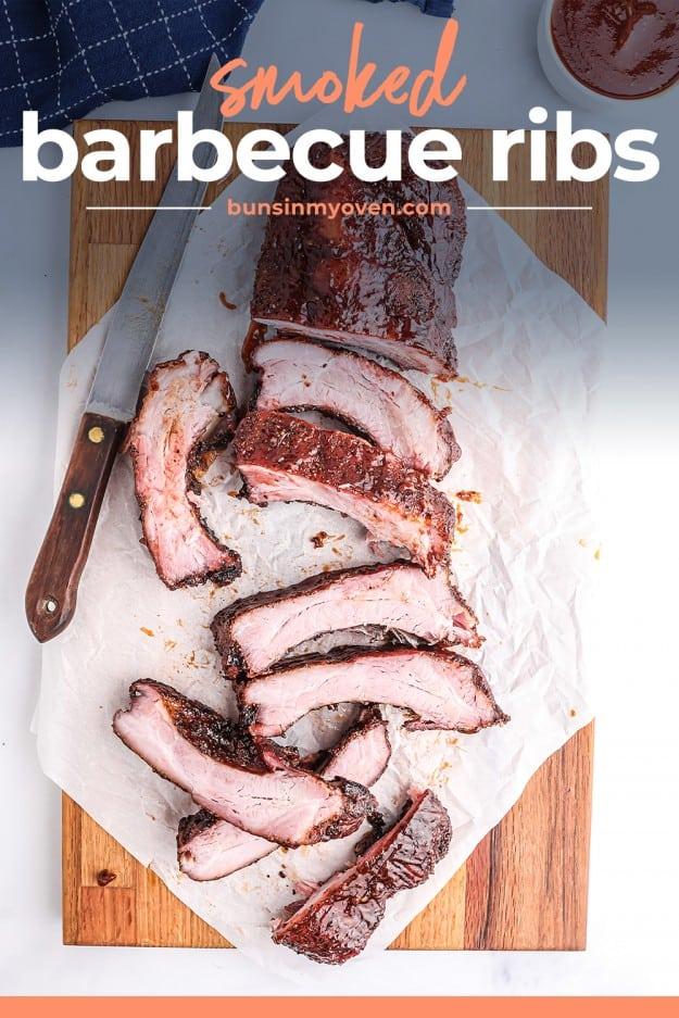 overhead view of ribs on cutting board.