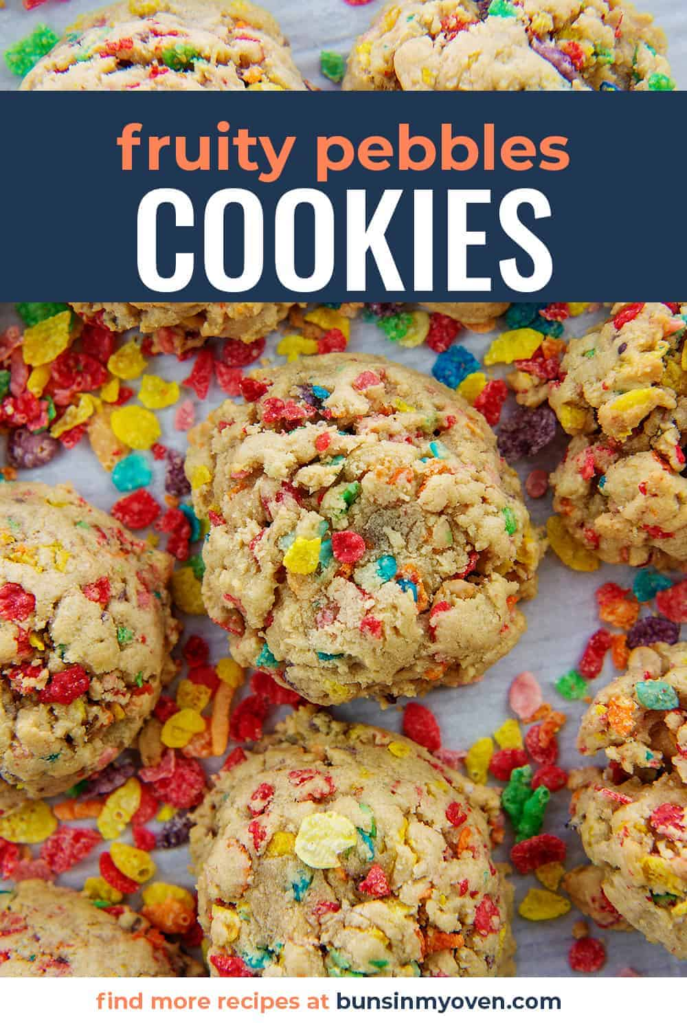 overhead view of cereal cookies on baking sheet with text for Pinterest.