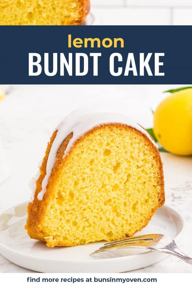 slice of lemon cake on white plate with fork.