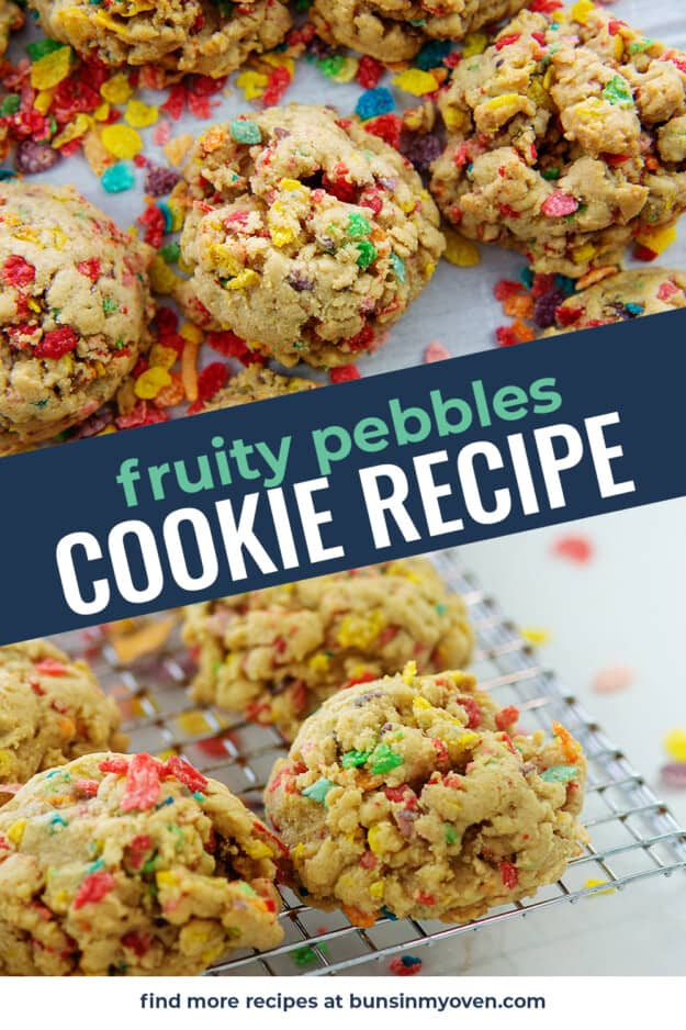 collage of fruity pebbles cookies images with text for PInterest.