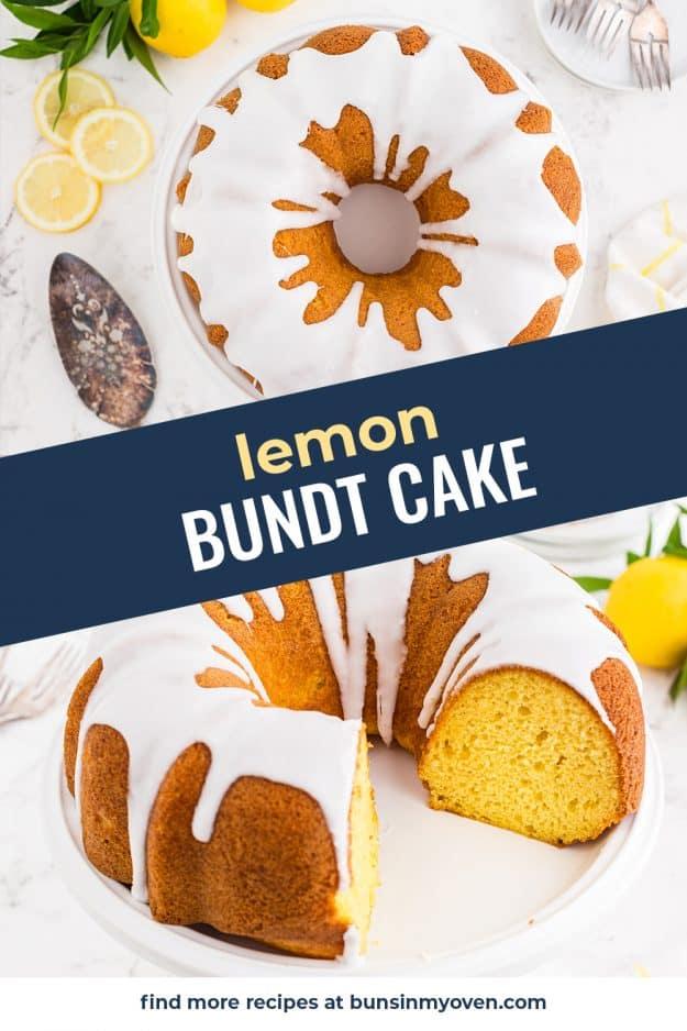 collage of lemon cake photos for Pinterest.