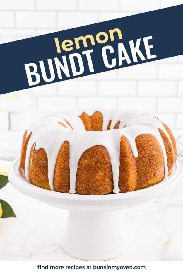 cake on white cake stand.