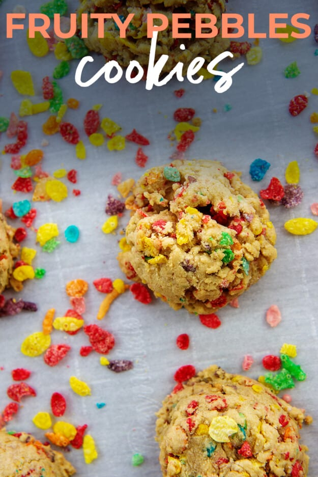 cookies surrounded by fruity pebbles cereal.