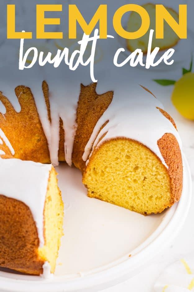 sliced lemon bundt cake for pinterest.
