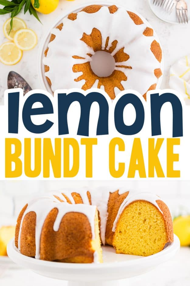 collage of lemon cake images with text for Pinterest.