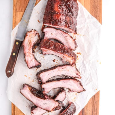 sliced ribs on cutting board.