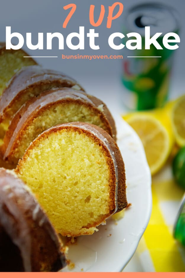 7 up pound cake on white cake stand with text for Pinterest.