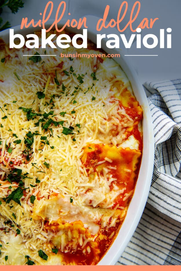 cheesy ravioli casserole in baking dish.