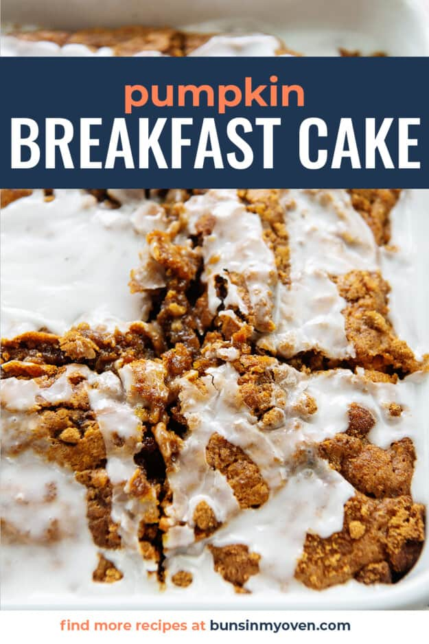 breakfast cake with text for pinterest.