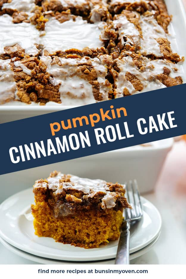 collage of pumpkin breakfast cake images.