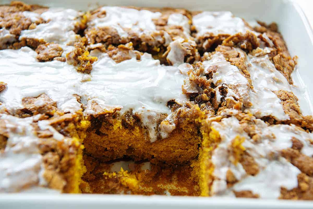 breakfast cake in baking dish.