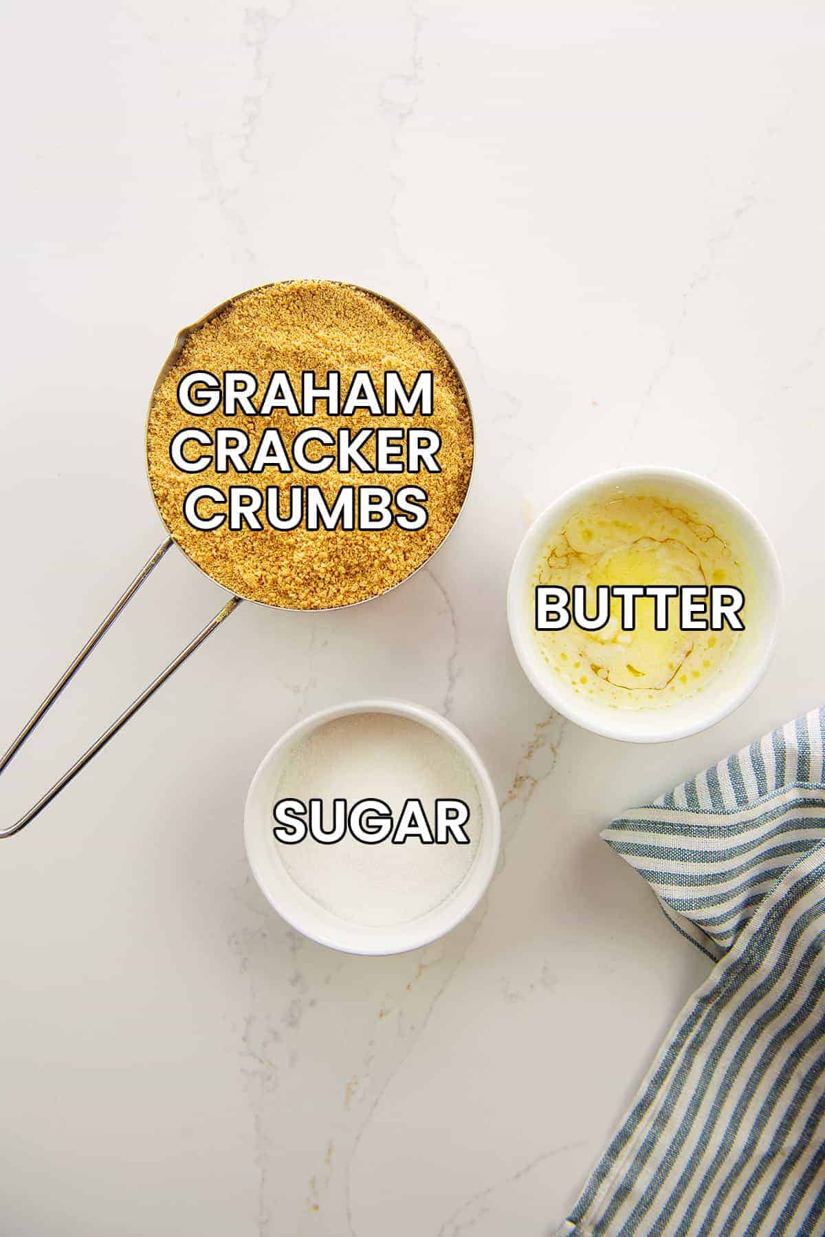 ingredients for graham cracker crust on counter.