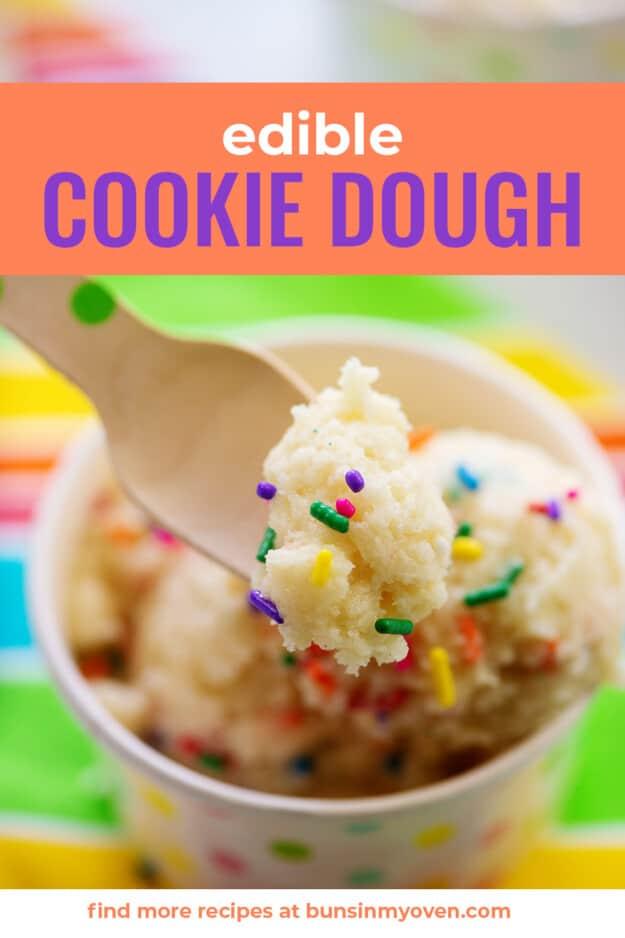 spoonful of edible sugar cookie dough.