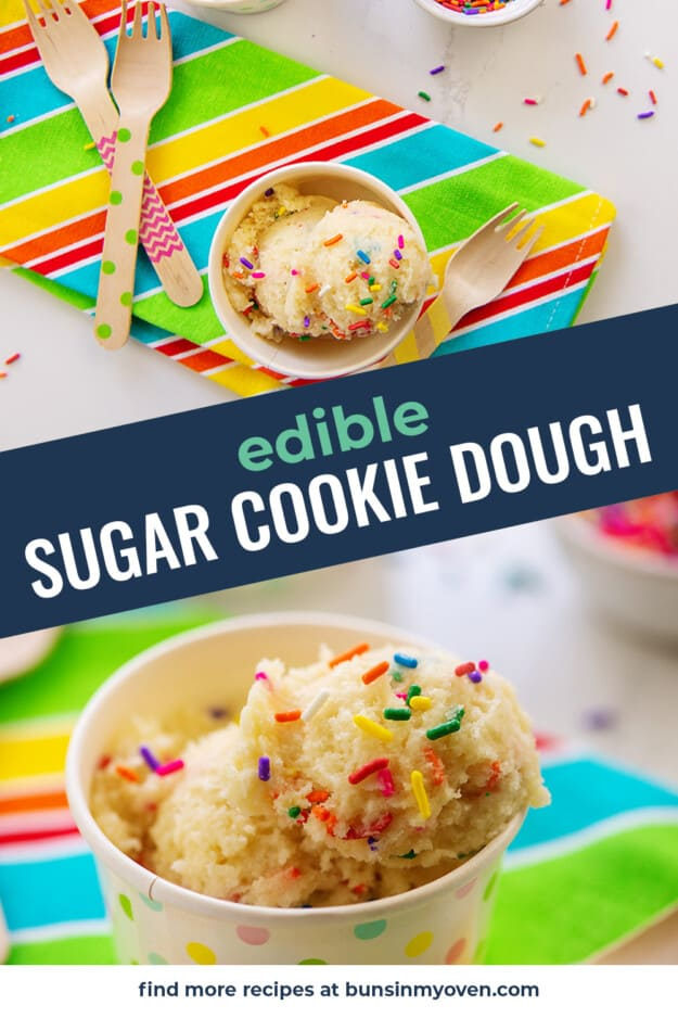 Eggless sugar cookie dough photo collage with text for pinterest.