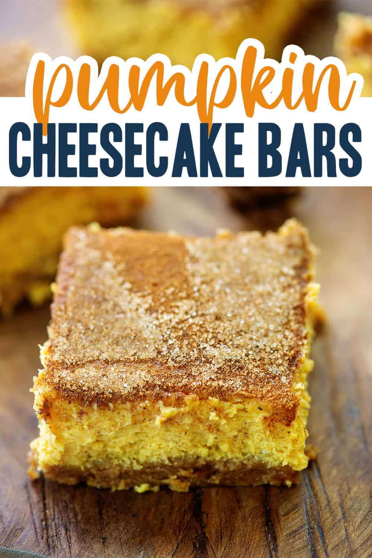pumpkin cheesecake bars with cinnamon sugar topping.