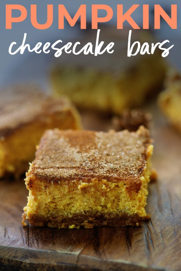 slice of pumpkin cheesecake with text for Pinterest.