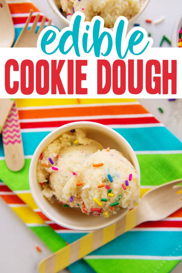edible cookie dough in small paper bowl.