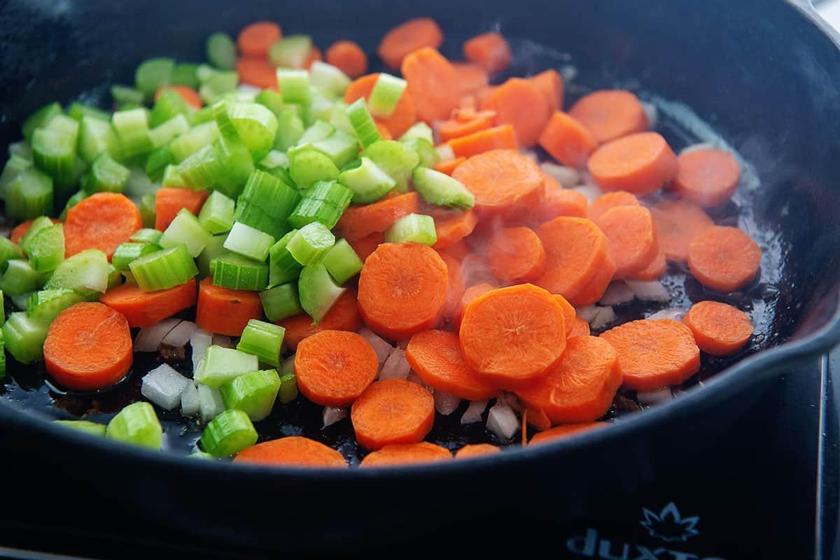 vegetables in skillet.