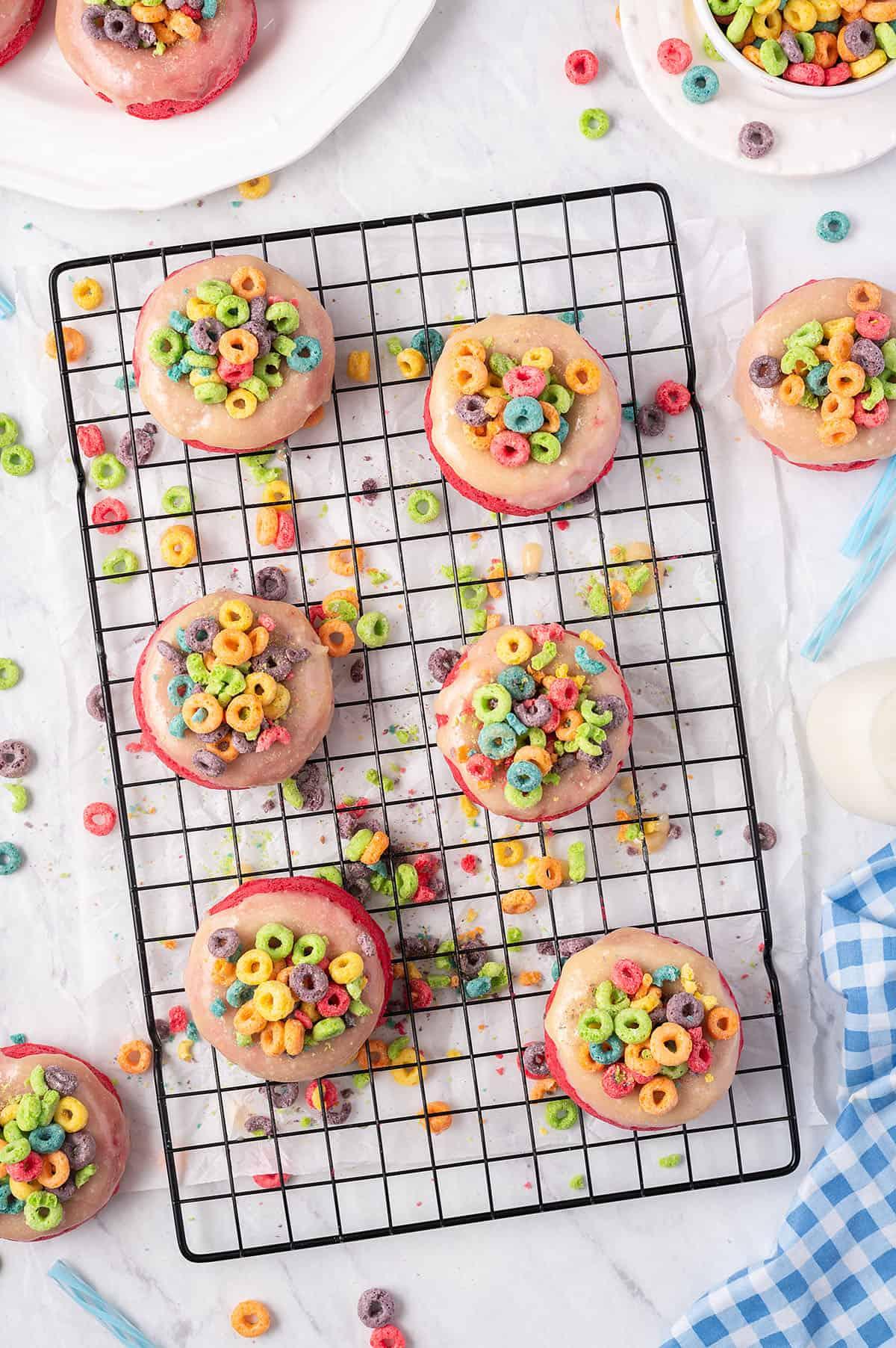 glazed donuts on cooling rack.