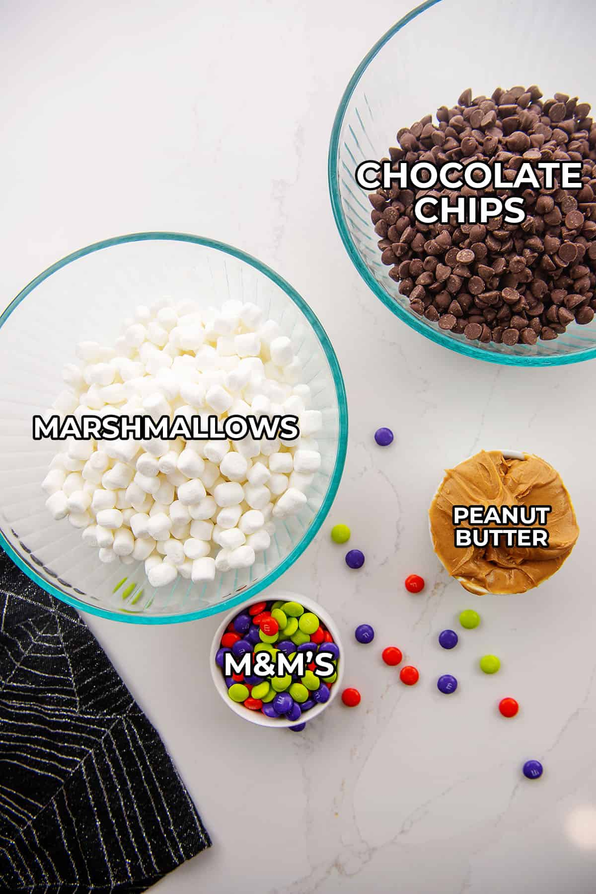 ingredients for Halloween candy bars.