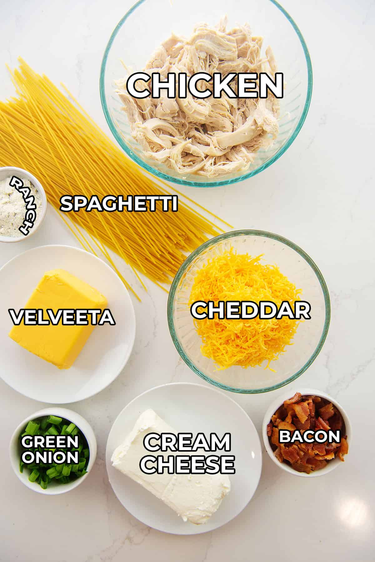 ingredients for crack chicken spaghetti.