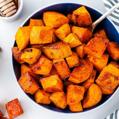 overhead view of sweet potatoes in bowl.