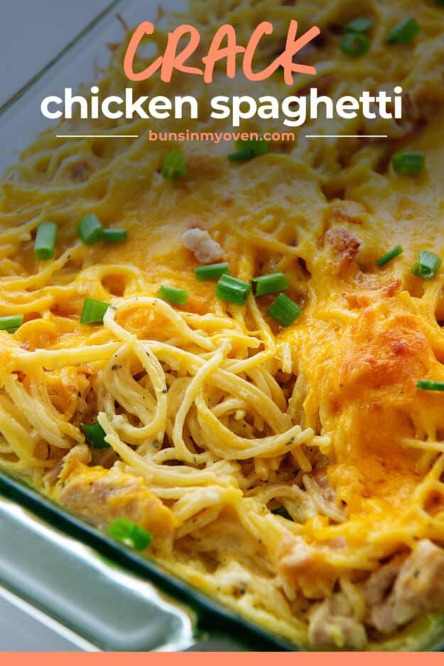 chicken spaghetti in glass baking dish.