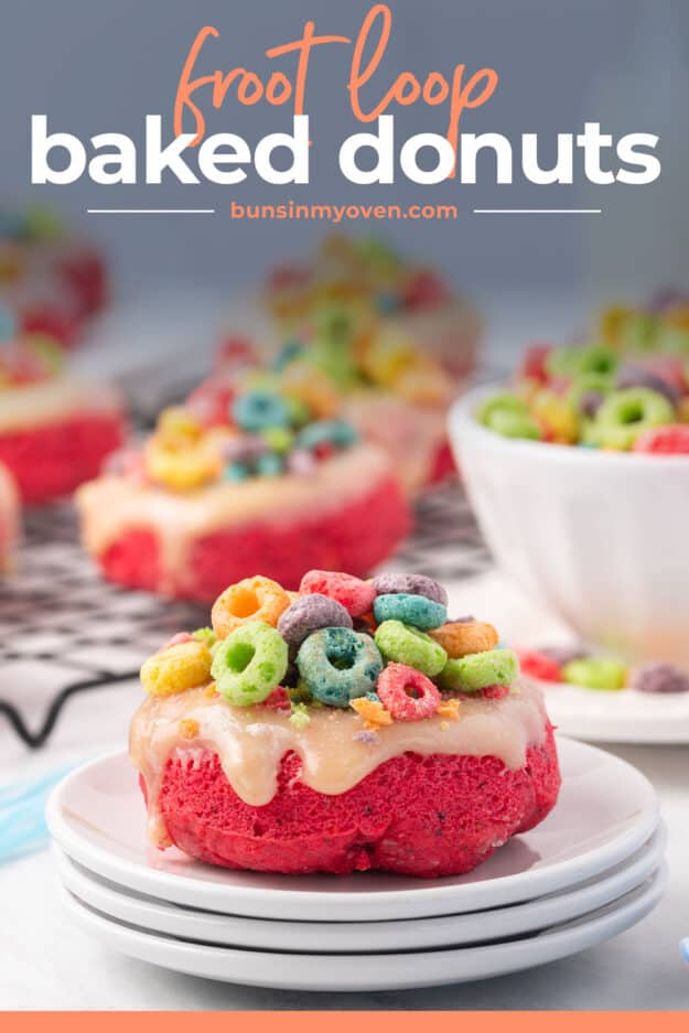 fruit loop donut on white plate with text for Pinterest.