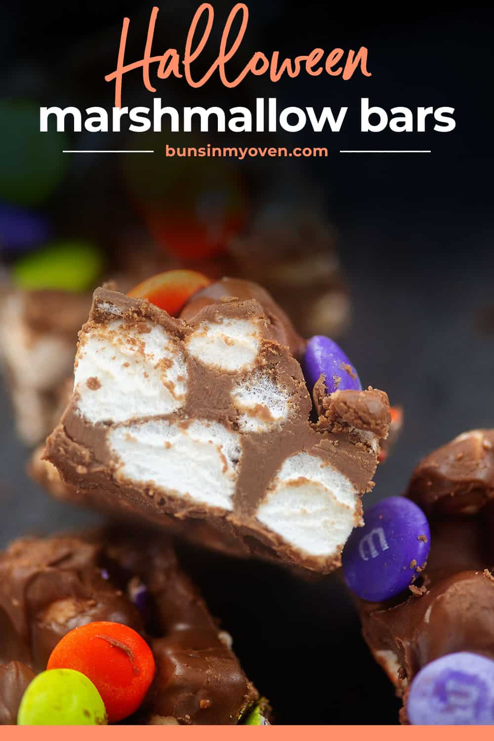 Halloween marshmallow bars with text for Pinterest.