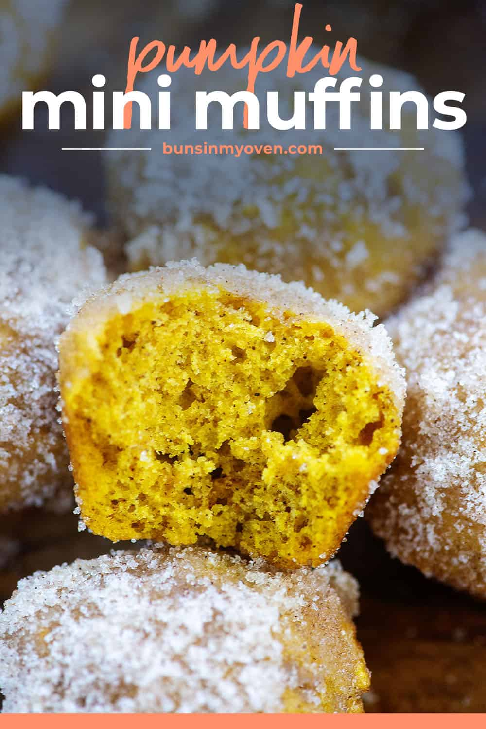 pumpkin mini muffins with text for Pinterest.