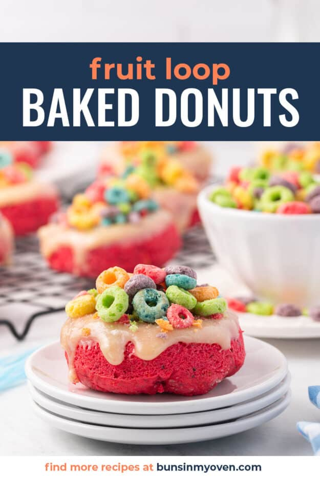 cereal donut on white plate with text for Pinterest.