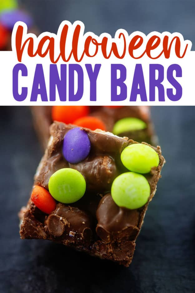 halloween dessert bars with text for Pinterest.