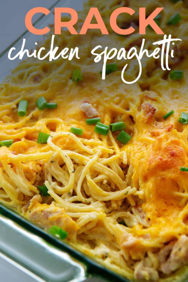 casserole dish full of cheesy chicken spaghetti with text for Pinterest.