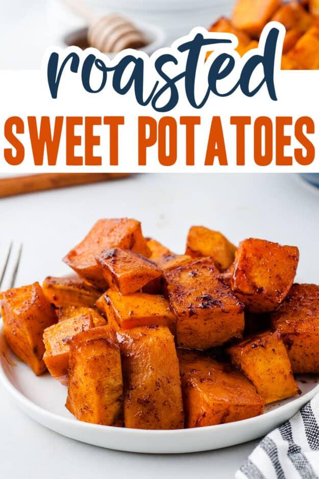 sweet potatoes tossed in cinnamon on white plate.
