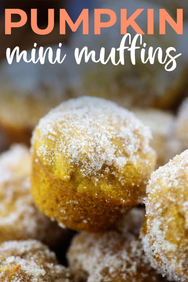 stack of pumpkin muffins with text for Pinterest.
