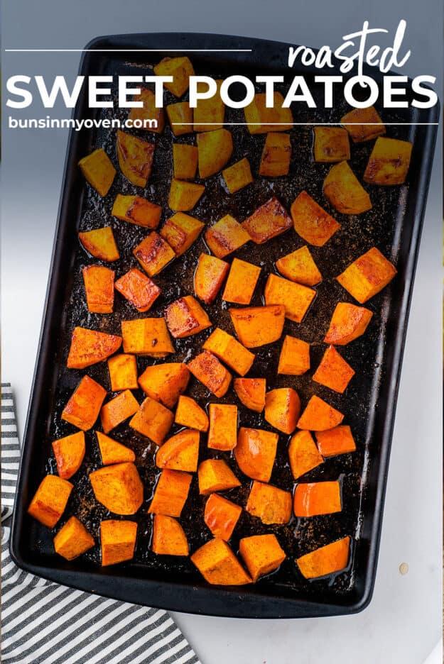 cinnamon sweet potatoes on sheet pan.
