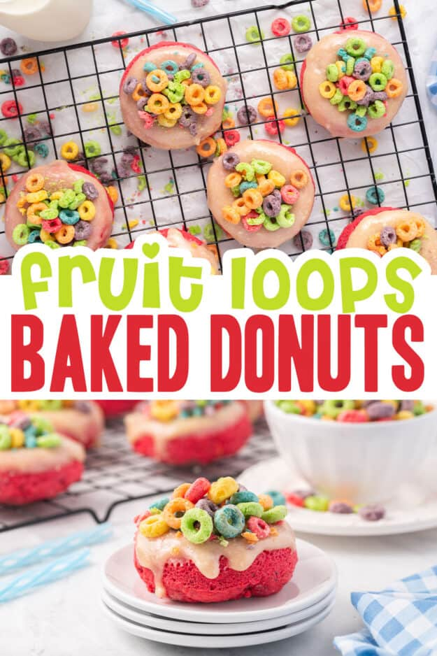 collage of baked donut images with text for Pinterest.