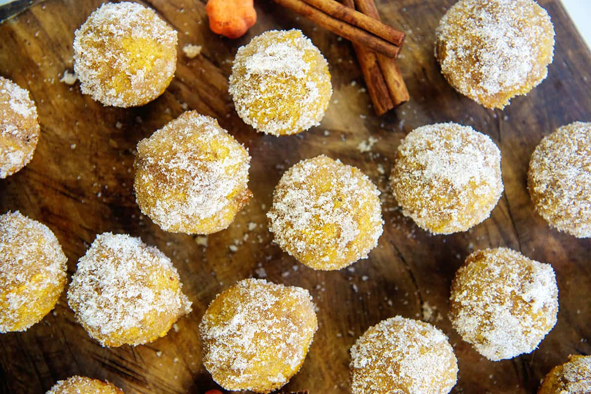 mini muffins on wooden board.