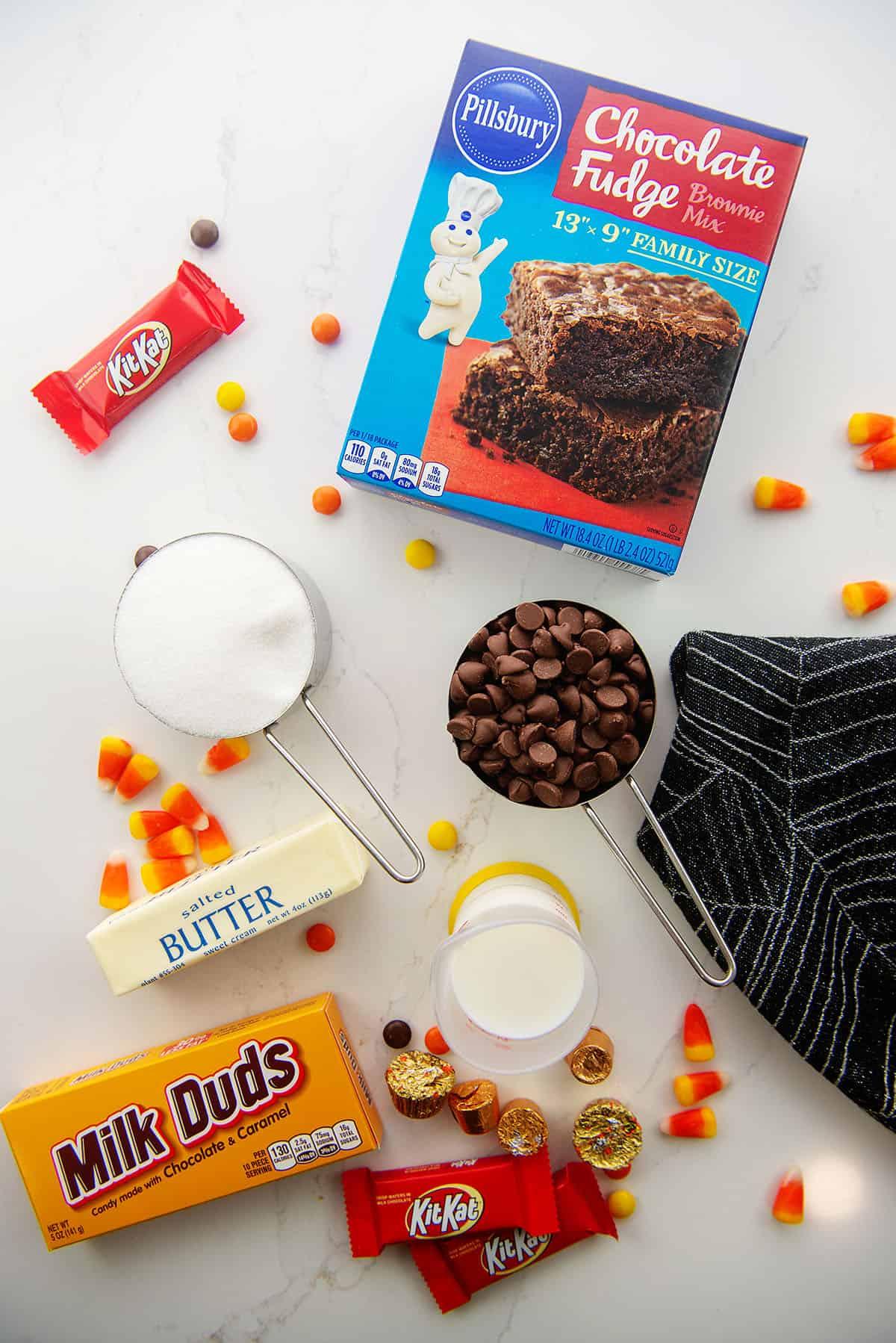 ingredients for Halloween brownies.