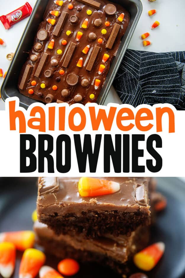 collage of Halloween brownies with text for Pinterest.